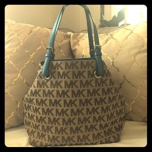 Michael Kors Medium Tote in Beige and Teal